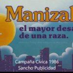 Calcomanía Manizales el mayor desafío de una raza Sancho Publicidad 1986
