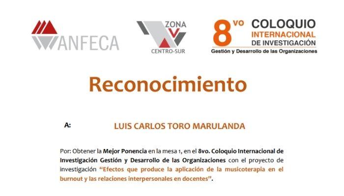 Docente de la Universidad de Caldas recibe reconocimiento en Coloquio Internacional