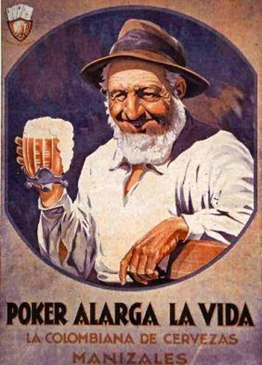 Publicidad de la Cerveza Poker en 1929, esta fábrica inició en Manizales y luego fue vendida a Bavaria en 1931. Historia de la Cerveza en Colombia