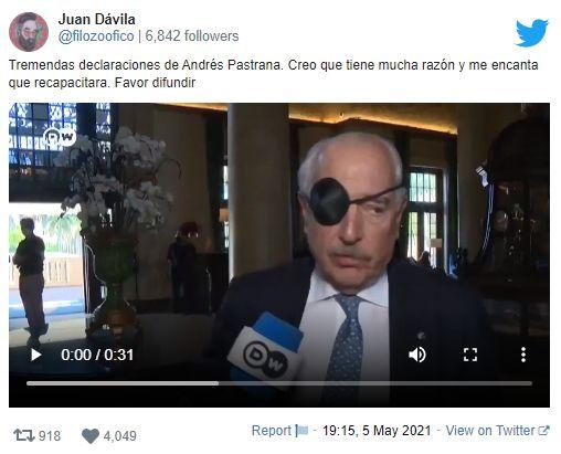 foto, el expresidente Andrés Pastrana apareció con un parche en su ojo derecho durante una intervención en el Inter American Institut, de Miami