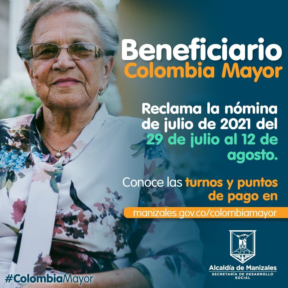Ya puede reclamar la nómina de Colombia Mayor correspondiente al mes de julio.