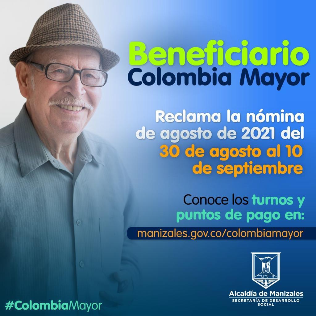 10 mil 254 beneficiarios de Colombia Mayor ya pueden reclamar la nómina de agosto.