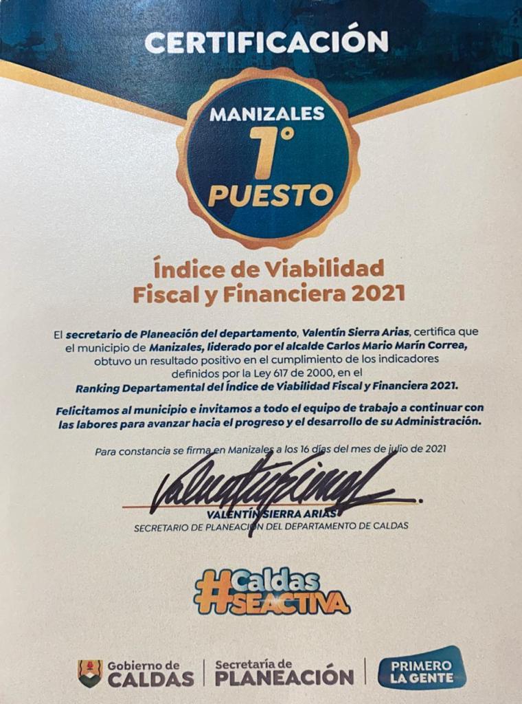 Manizales obtuvo el primer puesto en el ranking departamental del Índice de Viabilidad Fiscal y Financiera 2021