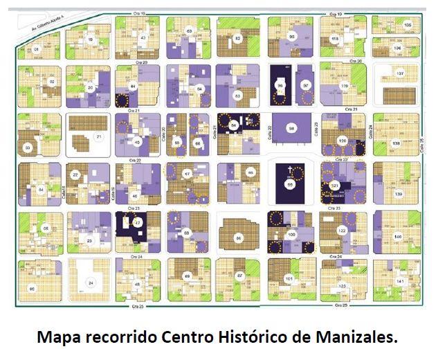 Mapa recorrido Centro Histórico de Manizales